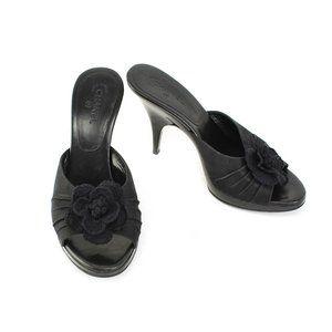 "CHANEL: Black, Canvas ""Camellia"" & ""CC"" Logo Heels"